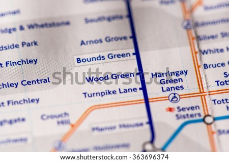 Wood Green Station on a map of the Piccadilly metro line in London, UK. - stock photo