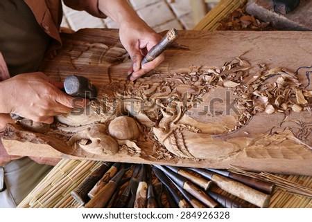 wood handcraft Thailand style, carpenter - stock photo