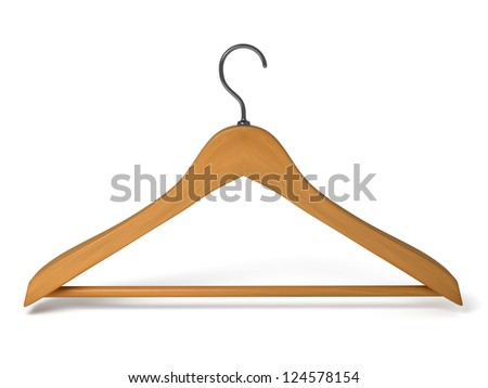Wood hanger on the background. 3d rendered - stock photo