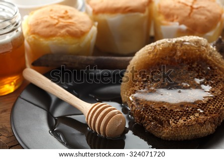 wood honey dipper soft cheese cake sweet pastries dessert yummy bakery rustic still life closeup delicious rustic background - stock photo