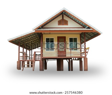 wood house, isolated on a white background. - stock photo