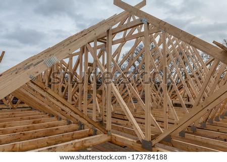 Wood house truss - stock photo