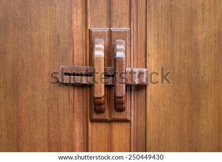 wood key of door - stock photo