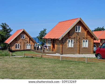 Wood log homes summer houses in a vacation village