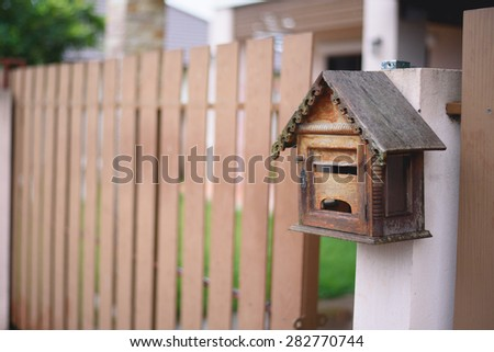 Wood Mail box at the garden - stock photo