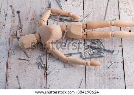 wood man tired exhausted businessman in trouble on wooden background