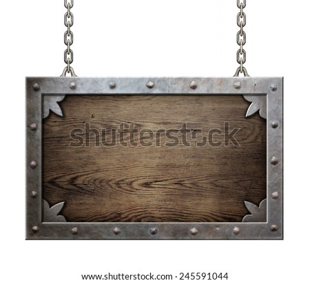 wood medieval sign with metal frame isolated - stock photo