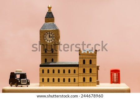 wood model of the city of London - stock photo