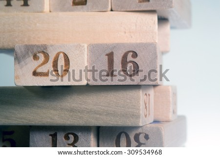wood numbers of 2016 - stock photo