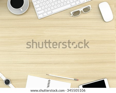 top office table cup. Unique Table Wood Office Desk Table With Computer Smartphone Supplies And Coffee Cup  Top View Intended Office Table Cup