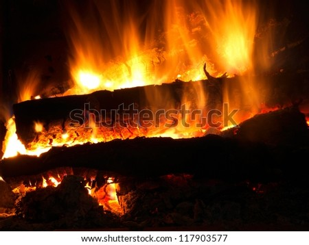 Wood on fire / Fireplace / Fire / Flame