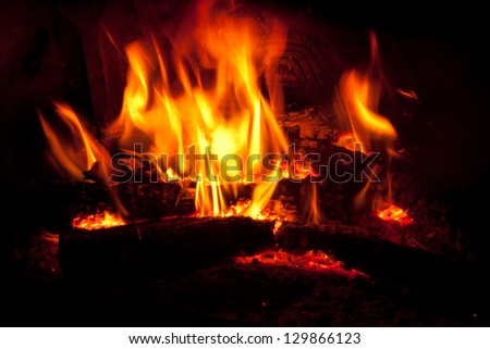 Wood on fire in a fireplace