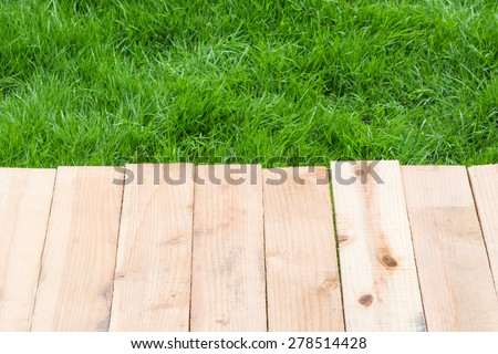Wood on grass texture for your background