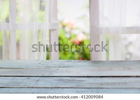 Wood over summer window background