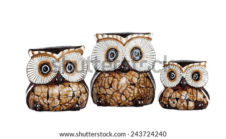 Wood Owl on a white background - stock photo