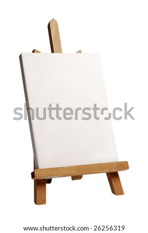 wood painting easel with a blank canvas on it, standing against a white background - stock photo