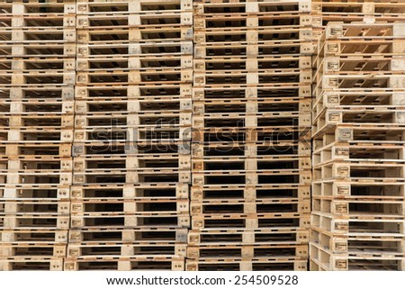 Wood pallets stacked - stock photo