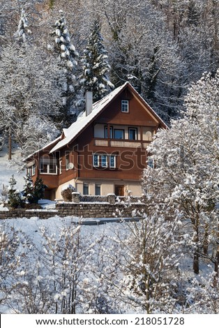 Wood-paneled, rural, brown house surrounded by snow-covered bushes and trees, taken at the edge of the Black Forest, Germany.  - stock photo