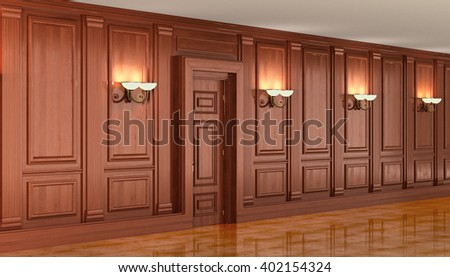Wood paneling in the interior. 3d render