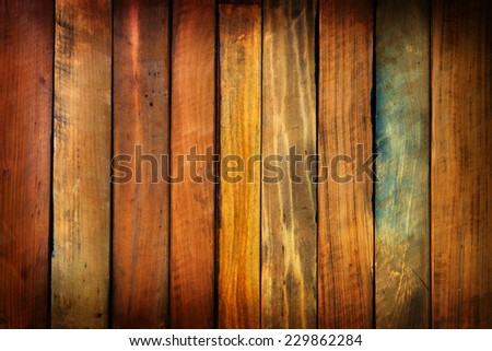 Wood paneling made from antique or vintage marronnier tree wood pieces.