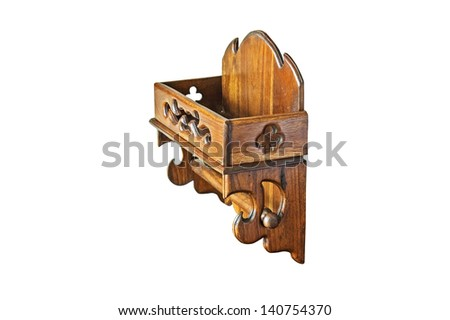 Wood paper roll holder isolated on white background