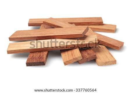 Wood Parquet Pieces on White Background - stock photo