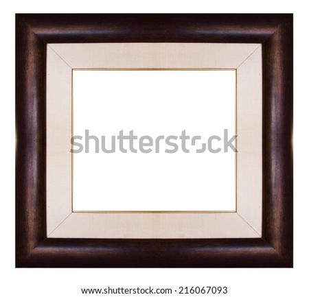 wood picture frame, isolated on white background.