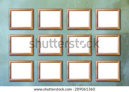 Wood picture frame on Vintage or grungy of Concrete Texture Background