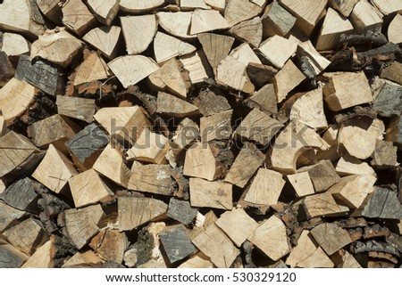 wood pile background in detail