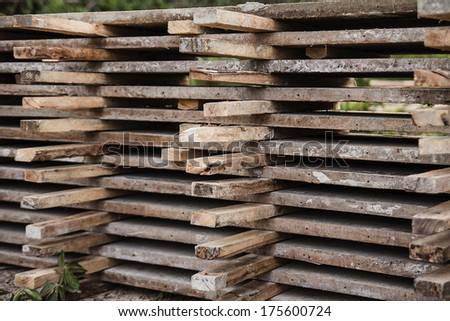 wood pile used in construction.