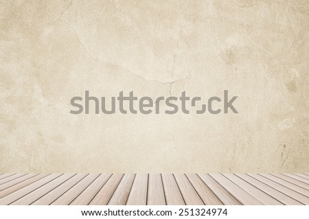 wood plank and cement wall - texture cracks background ancient stone smooth interior construction - stock photo