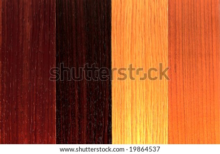 Wood plank board background with a selection of different veneers