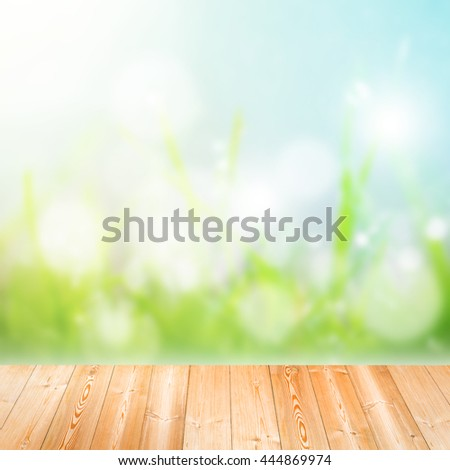 Wood plank on natural green grass field,Spring or summer abstract nature background with grass in the meadow and blue sky in the back - stock photo