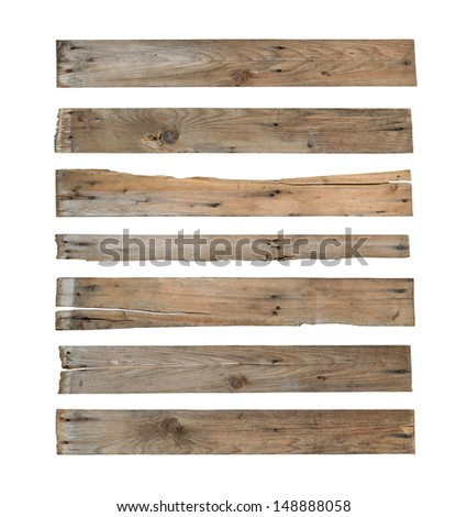Wood plank (with clipping path) isolated on white background - stock photo