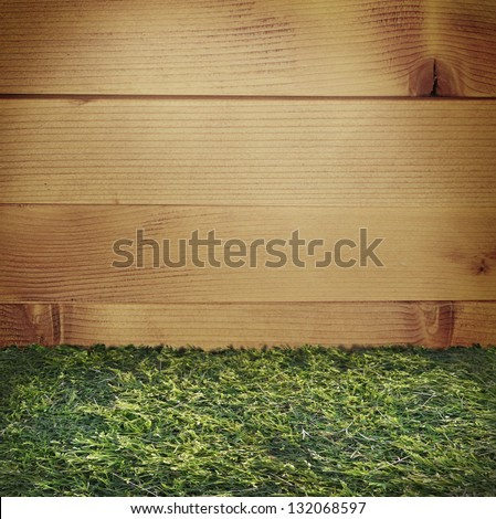 Wood plank with grass flooring backdrop
