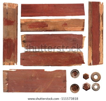 wood planks, isolated on white background with clipping path - stock photo