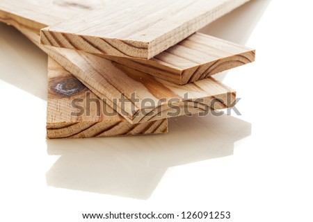 Wood planks on a white background