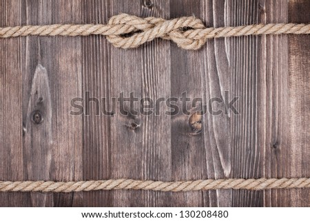 Wood planks with rope background - stock photo