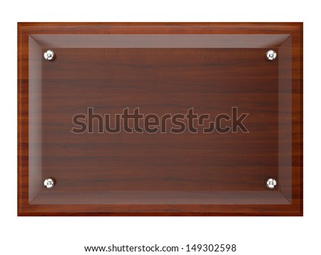 Wood plaque with Glass plate