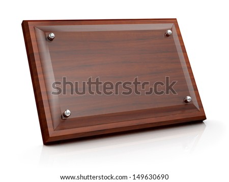 Wood plaque with Glass plate - stock photo