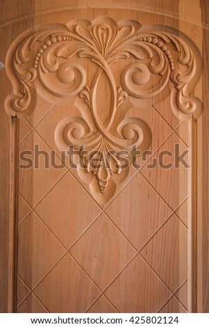 Wood processing. Joinery work. wood carving. Detail of a Classical chair with hardwood  - stock photo