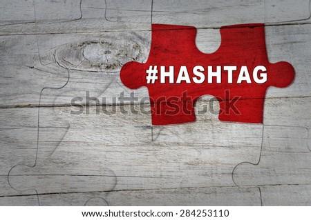 Wood Puzzle: HASHTAG - stock photo