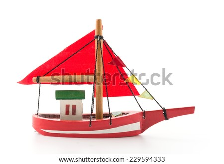 wood red ship on white background