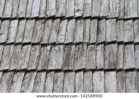 Wood roof tiles on a traditional house, Romania