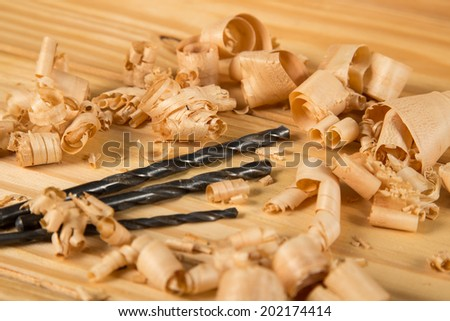 Wood shavings and drill bits