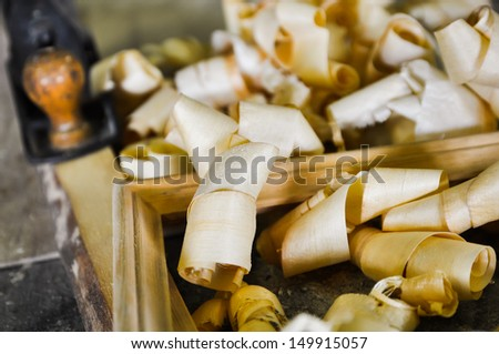 Wood shavings in the workshop of a picture frame