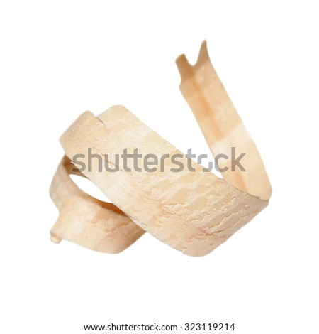 Wood shavings isolated on white background, with clipping path  - stock photo