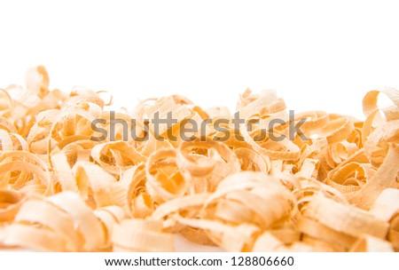 wood shavings on white background - stock photo