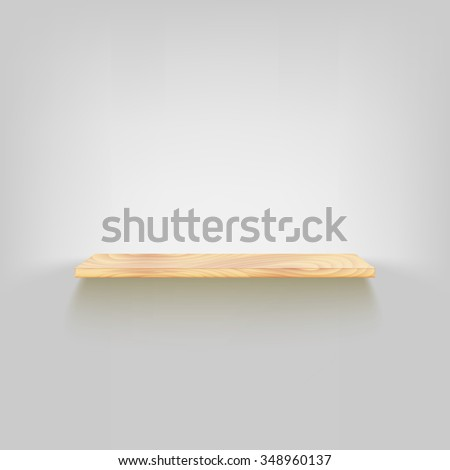 Wood shelf attached to the wall. , dark background,