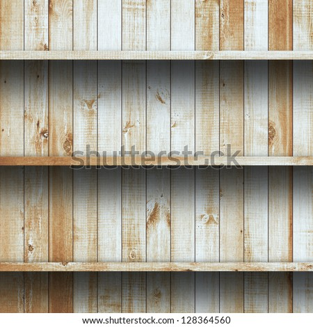 Wood shelf, grunge industrial interior Uneven diffuse lighting version Design component - stock photo
